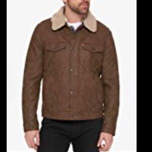 """Levi's Sherpa """"faux"""" Suede Trucker Jacket. Men's"""